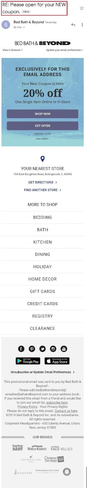 bed bath and beyond email example