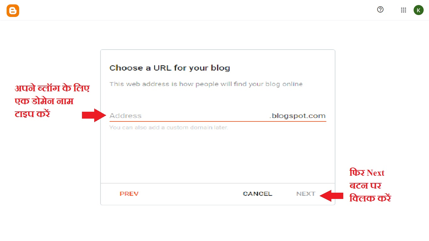 Type a domain name for your blog, Blog Kaise Banaye