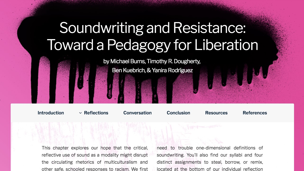 Screenshot of a chapter title page. The background is pink with a black spray paint swatch that drips down the page. On the black, white letters give the title of the chapter and the authors. Below simple tabs help readers negotiate the page.