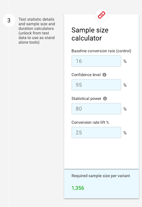 a/b test calculator with big MEI