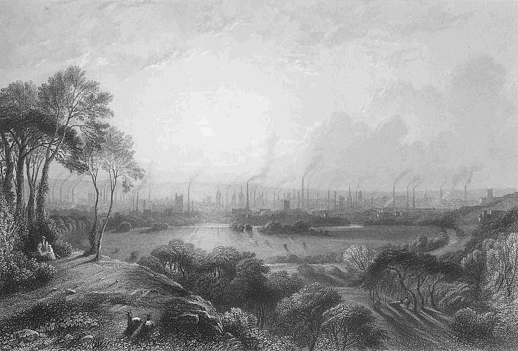 Black and white depiction of Manchester, with a nature scene in the foreground and the factory city in the distance.