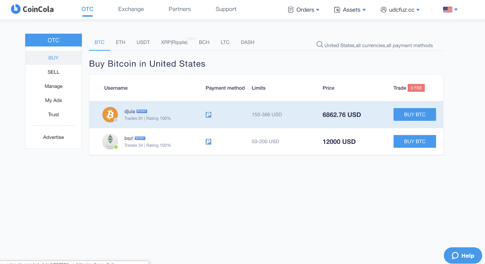 buy bitcoin on coincola otc cryptocurrency marketplace