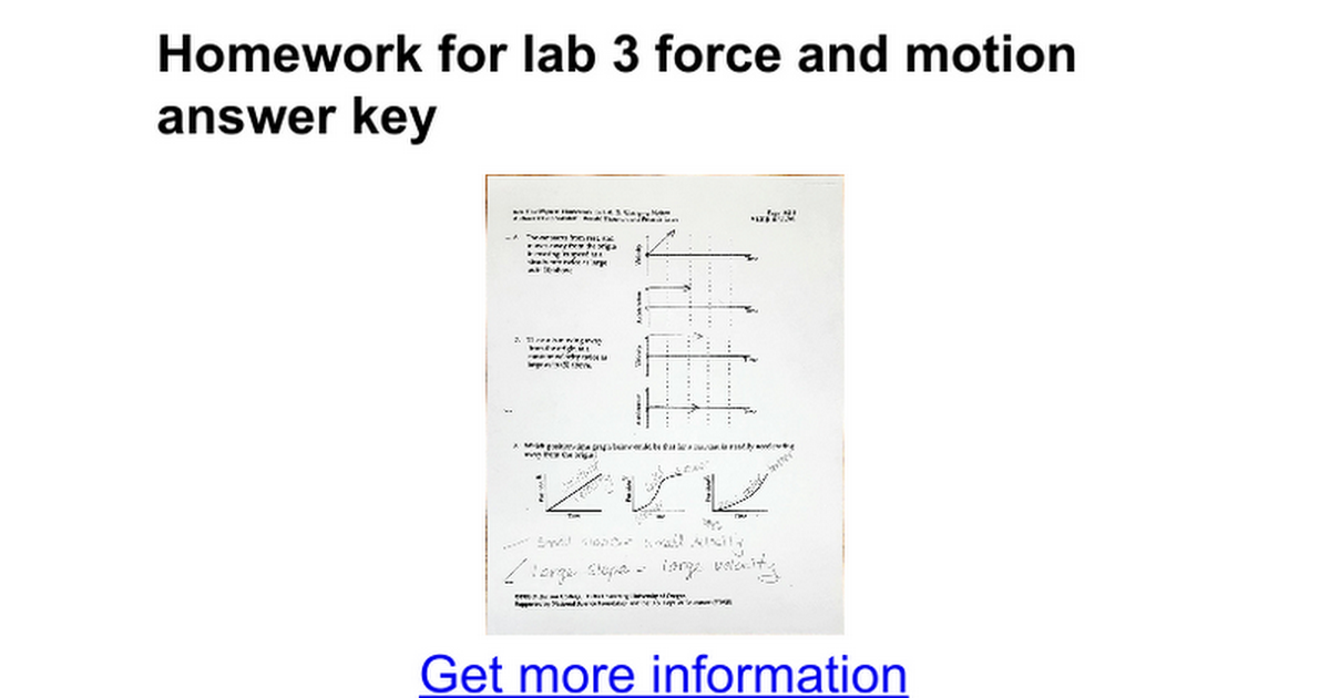 Homework for lab 3 force and motion answer key - Google Docs