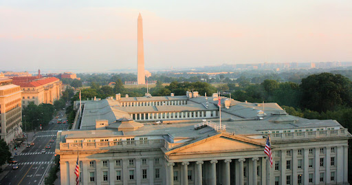 Sun setting over the Treasury Building