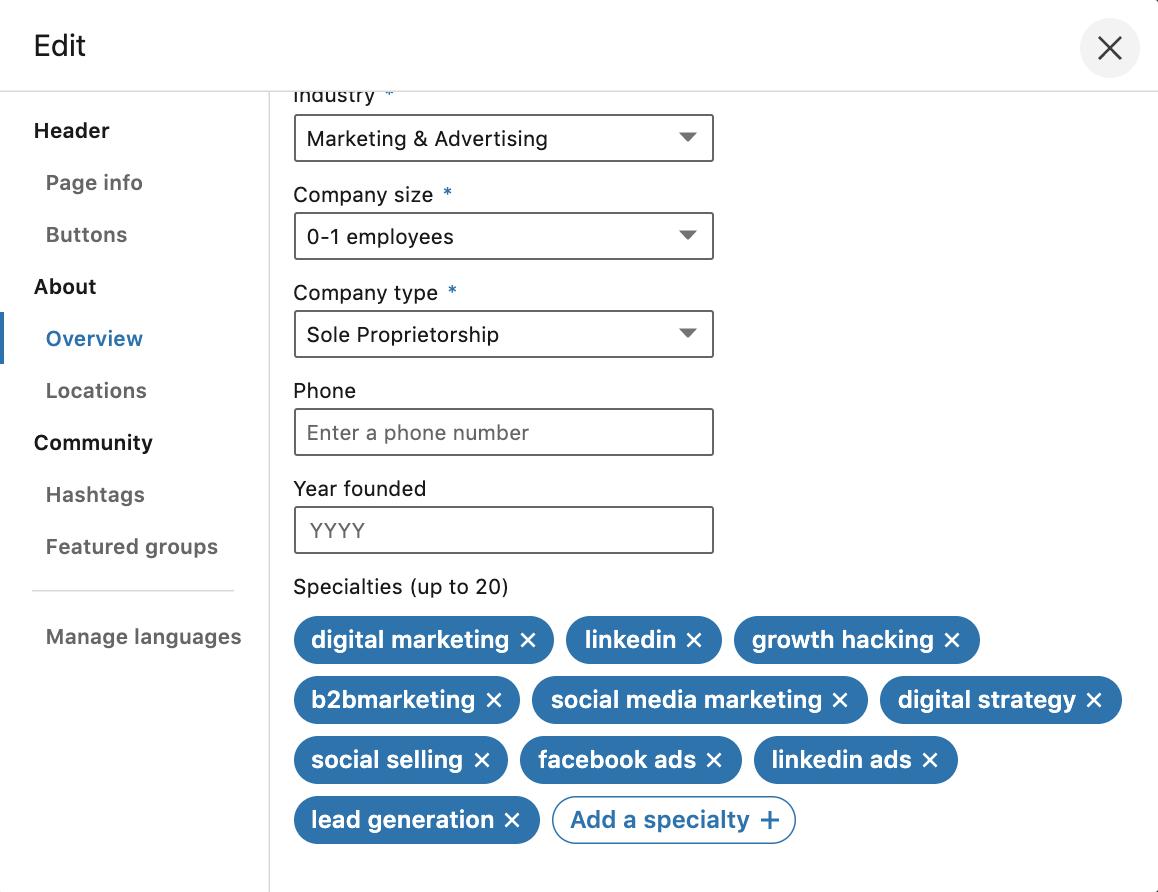specialità pagina aziendale linkedin