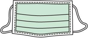 [تمثل الصورة عن قناع وجه طبي أخضر فاتح مع أحزمة أذن على كل جانب وحد أبيض وخطوط متقطعة سوداء]