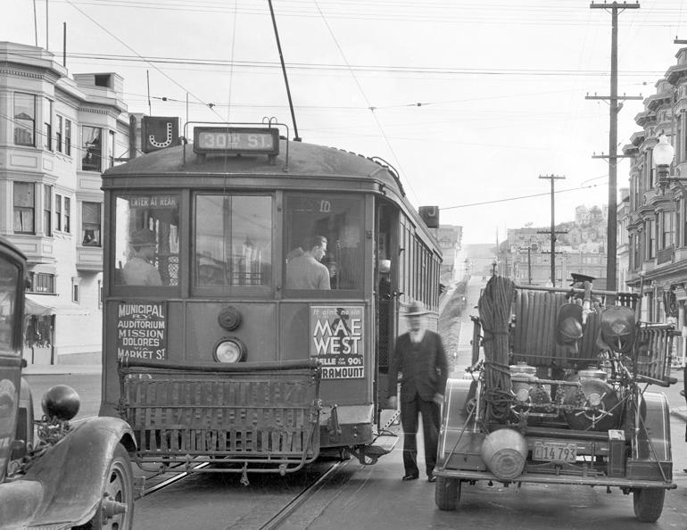 J Line streetcar on church street in 1934