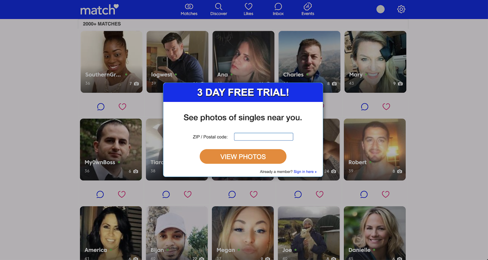 Match com free trial without credit card