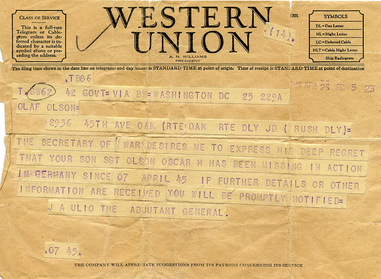 Telegram from the Army to Oscar's parents dated April 25, 1945