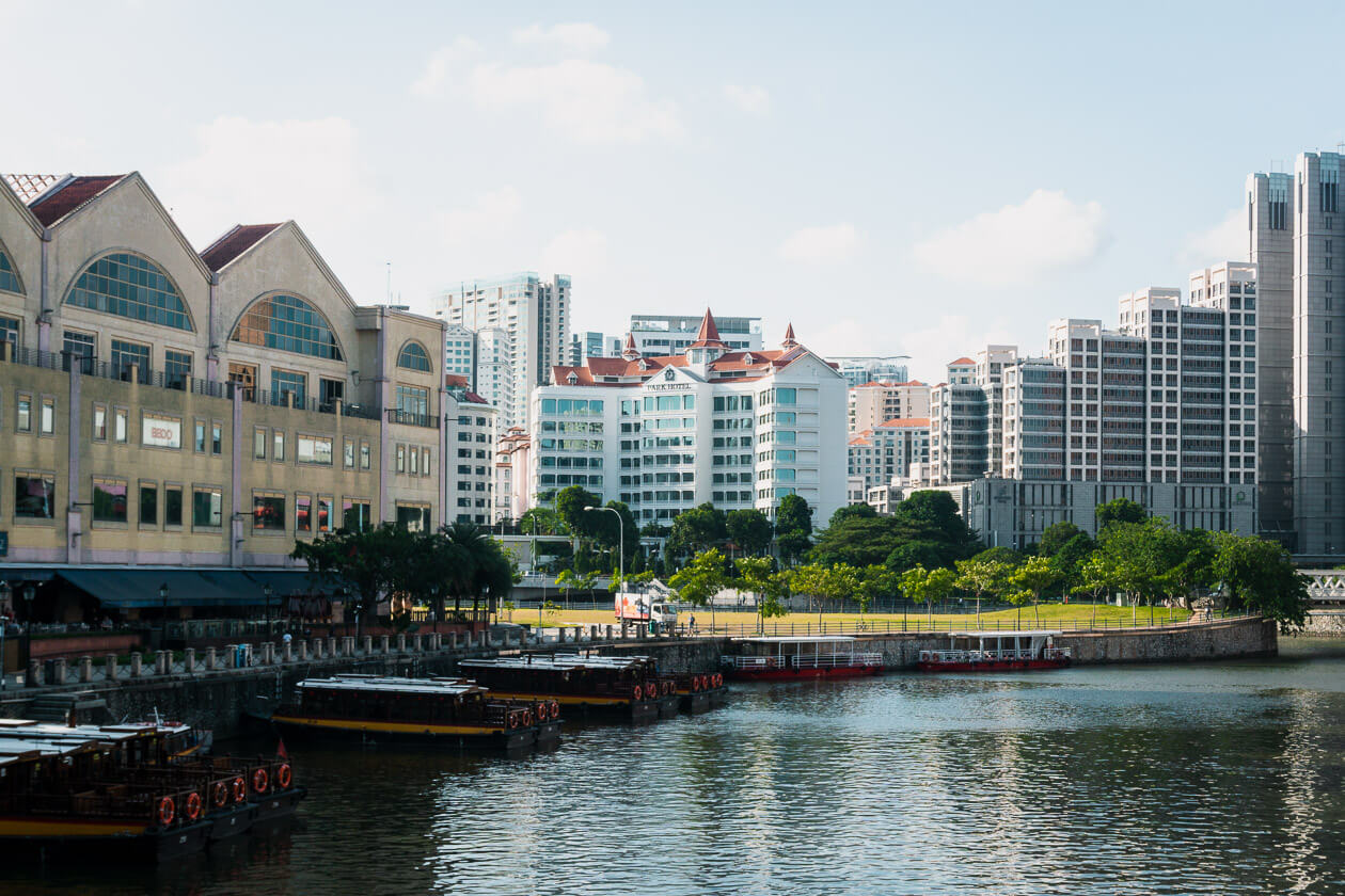 Canal boats in Singapore.