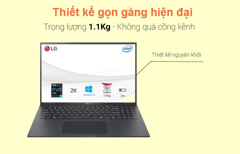 Laptop LG Gram 2021 16Z90P-G.AH75A5 (i7-1165G7) (Đen)   Thiết kế gọn gàng