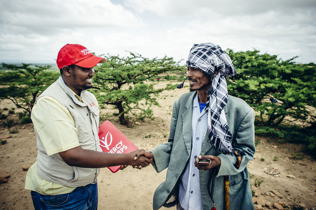 A Mercy Corps worker on the field