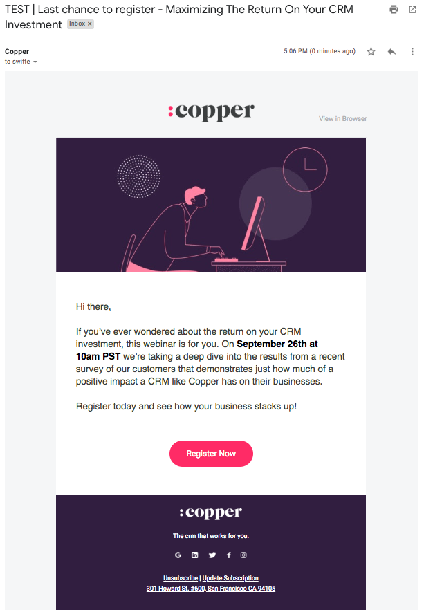 copper email subject line a/b test 2