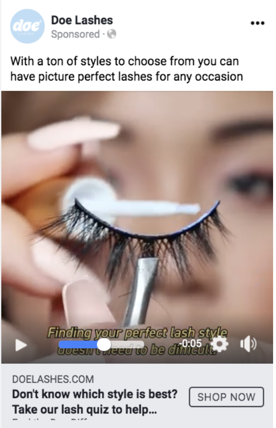 Screenshot of a Facebook ad by Doe Lashes that shows a women applying glue to a fake eyelash