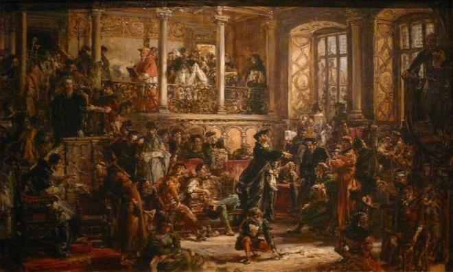 Ян Матейко. Золотий вік літератури. Реформація. Перевага католицизму. 1889.
