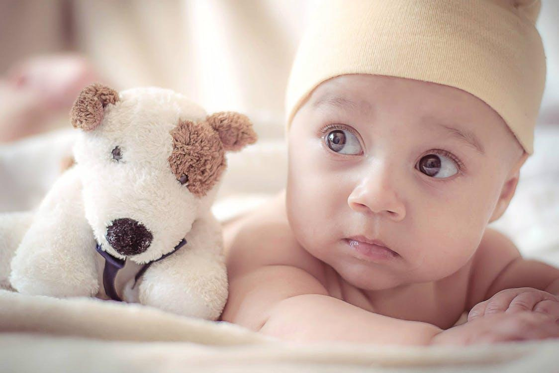 Baby Lying Near Dog Plush Toy
