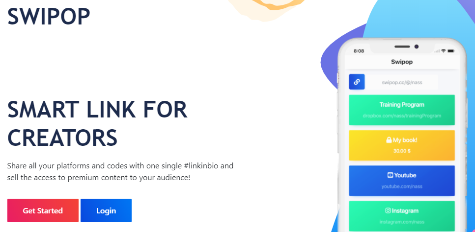 página inicial da ferramenta Swipop
