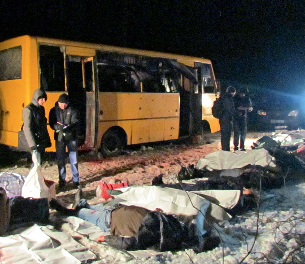 Автобус, расстрелянный сепаратистами под Волновахой