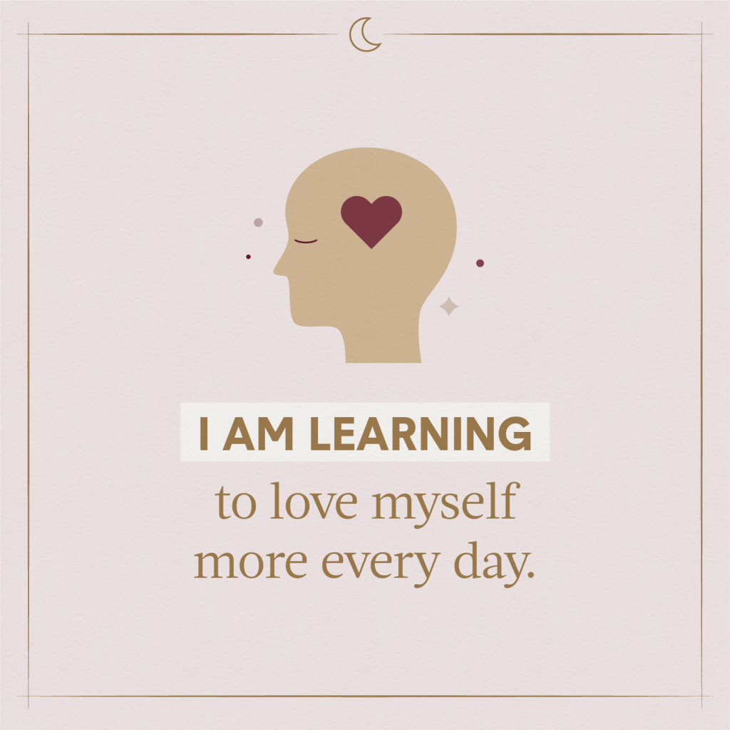 A gold illustrated head with its eyes closed and a heart where its brain is indicating using sleeping affirmations to learn to love oneself