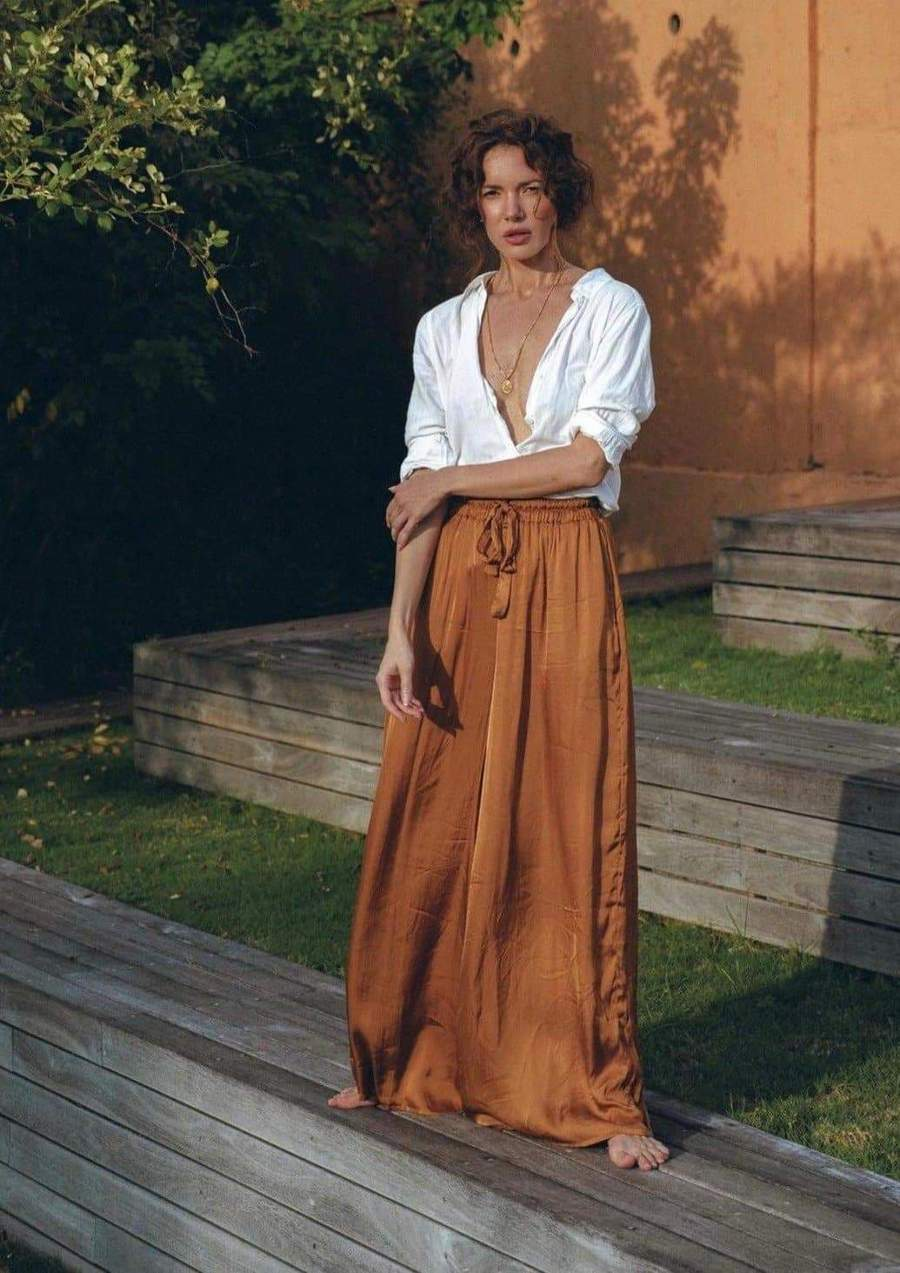 Satin Wide Leg Pant in Gold