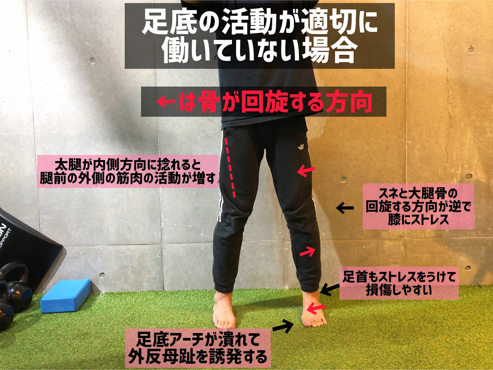 足底が適切に稼働しないときの筋肉の使われ方