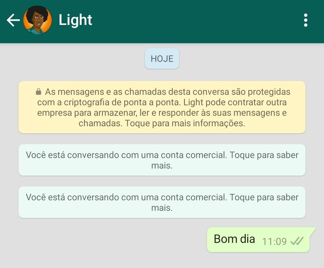 mande whatsapp para pedir segunda via light