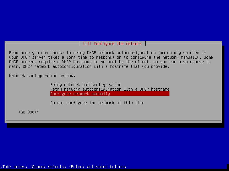 """Выберите <b><b><b>""""Configure Network Manually""""</b></b></b> для установки статического IP адреса и других параметров сети."""