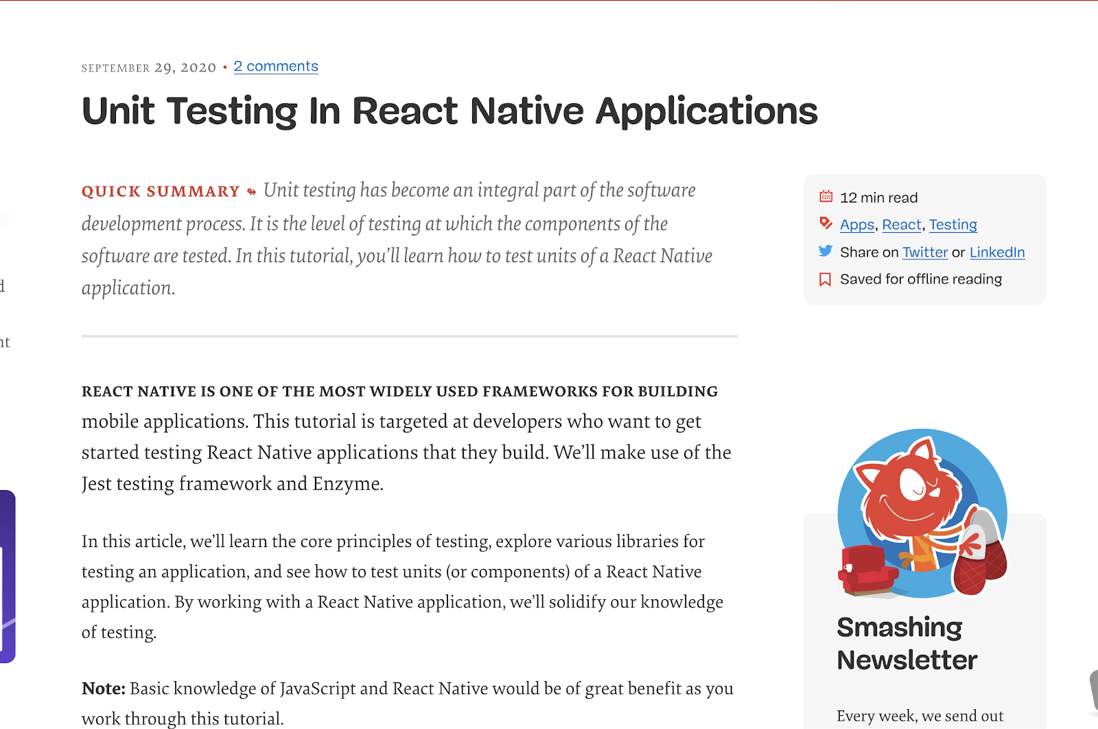 Unit Testing in React Native Applications