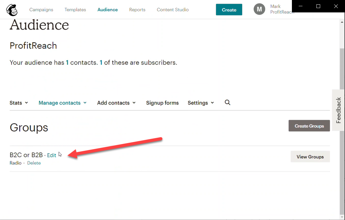 On the Groups screen: create the new group (find out how to do this on the Mailchimp website)