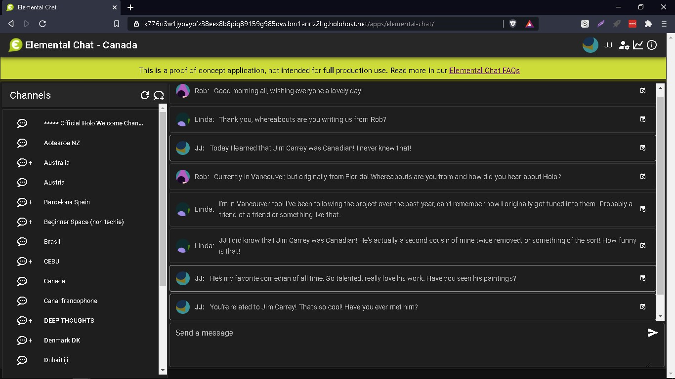 """A screenshot of Elemental Chat in a web browser. Various channels are listed in a sidebar; messages in the current channel are listed in the main panel. Across the top, a banner says """"This is a proof of concept application, not intended for full production use."""""""