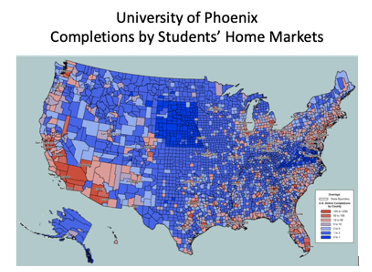 University of Phoenix completions by home market