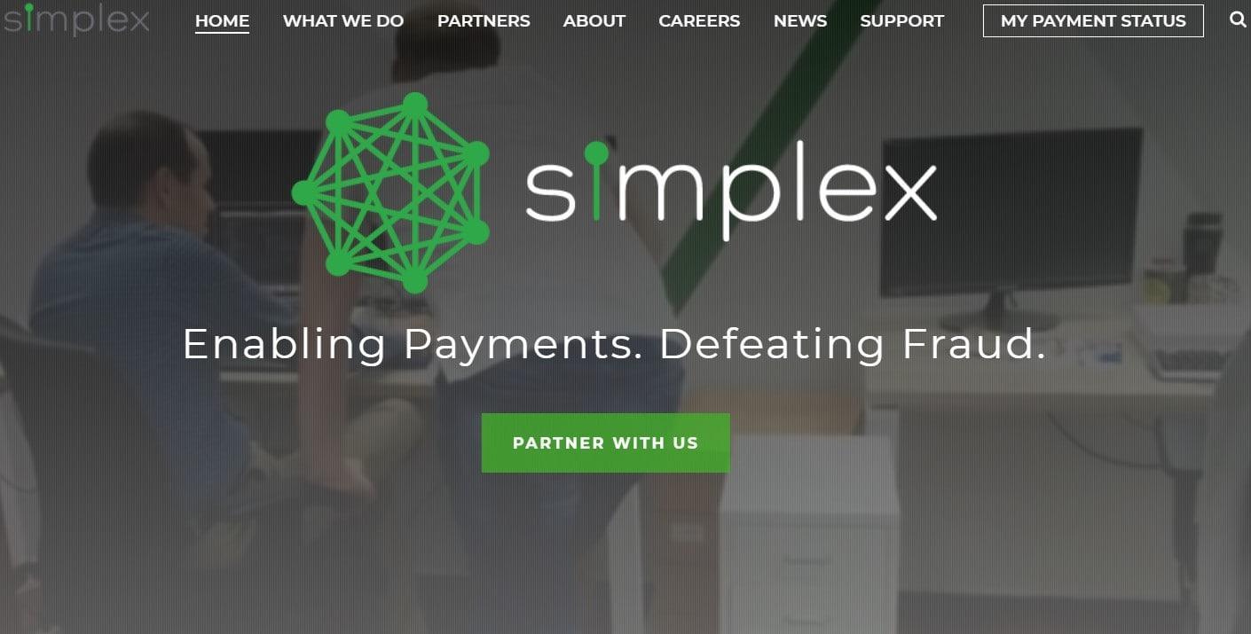 Page principale de Simplex, permettant des paiement sur Binance