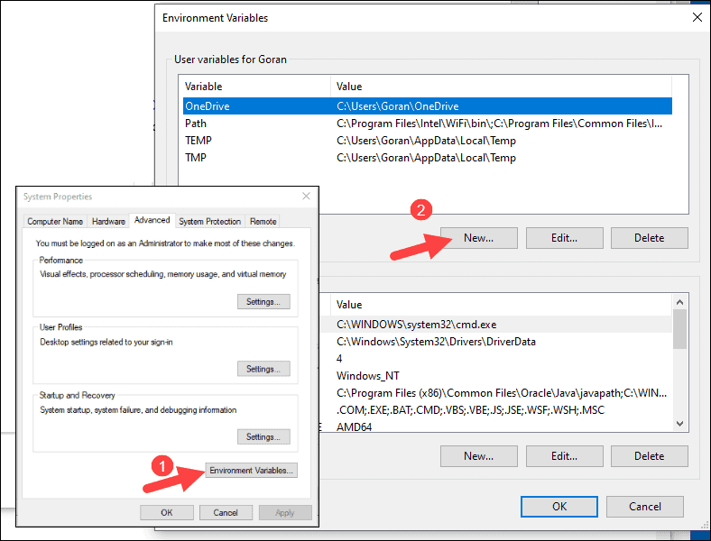 Add new environment variable in Windows.