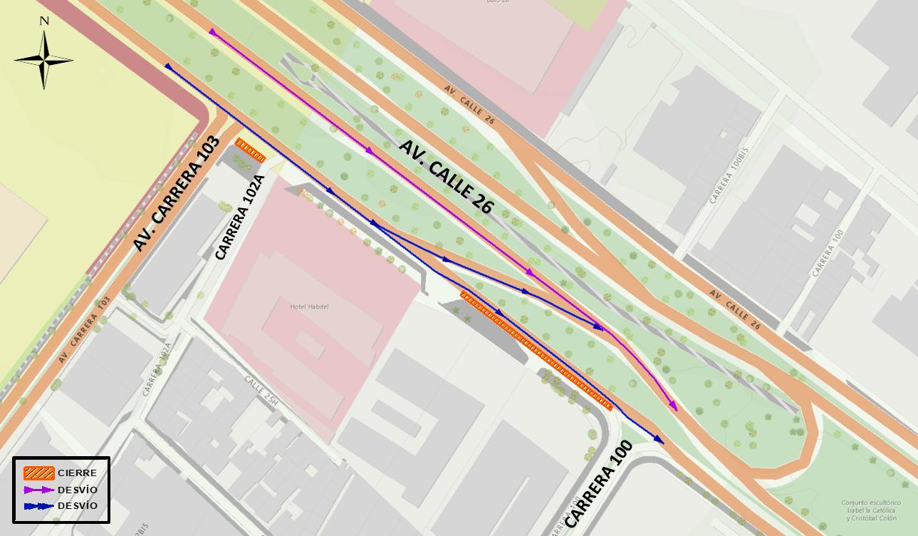 Mapa 2. Cierre del carril sur