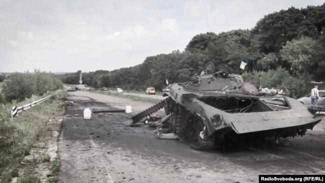 Знищена БМП бойовиків у червні 2014 року