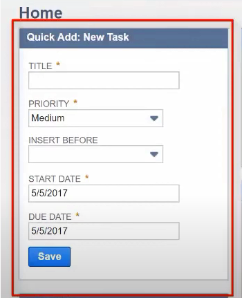 Creating records using the quick add portlet