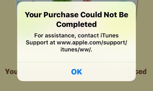 "Cách xử lí lỗi ""Your Purchase Could Not Be Completed"" khi mua inapp-purchase 1"