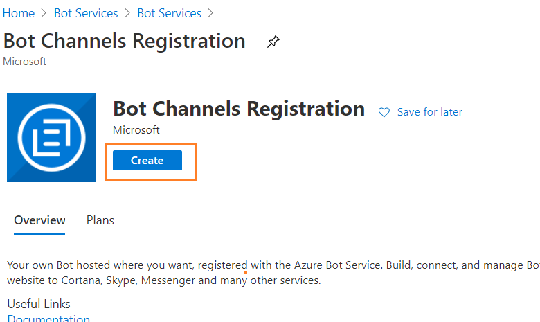 Bot Services > Create