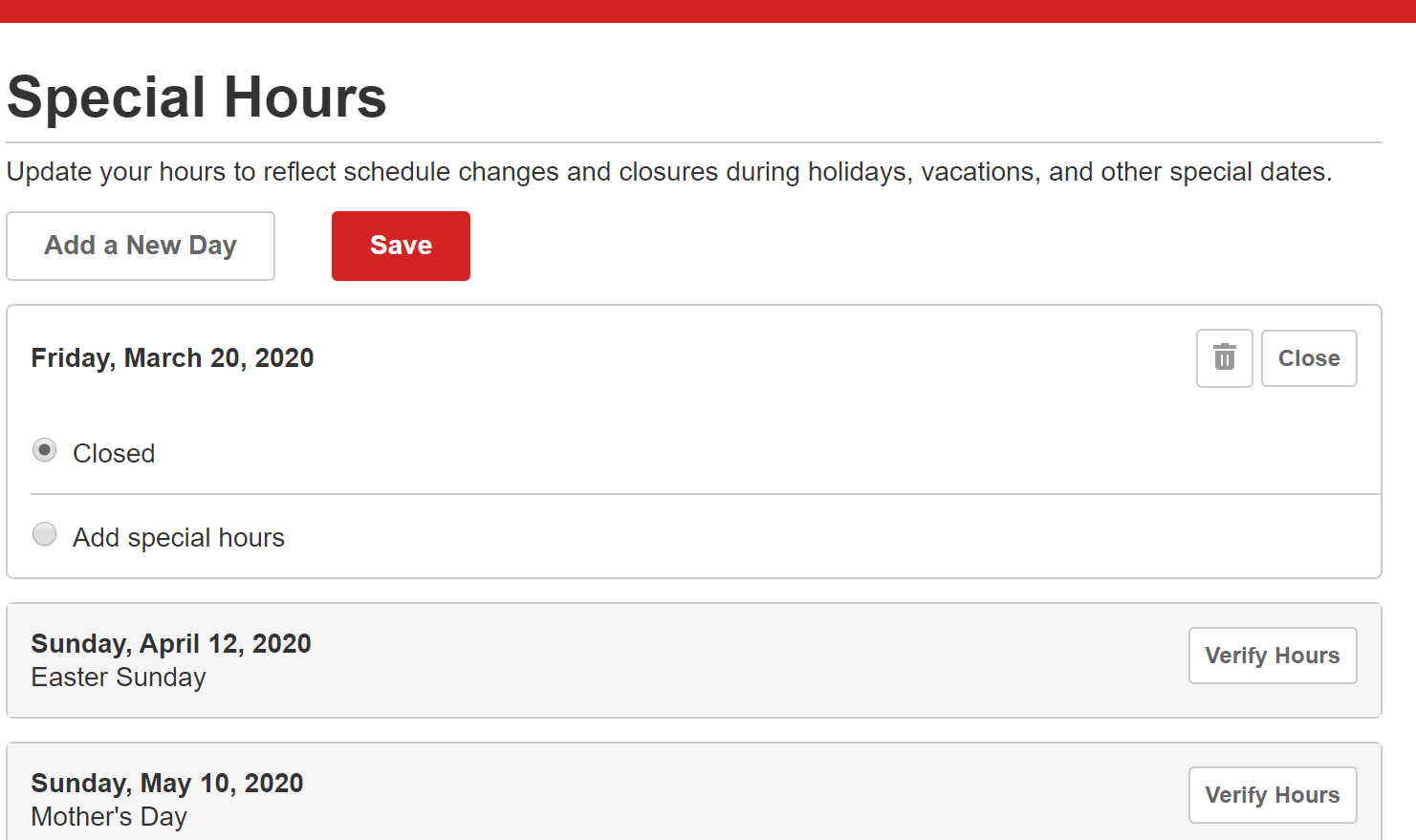 setting special business hours on Yelp