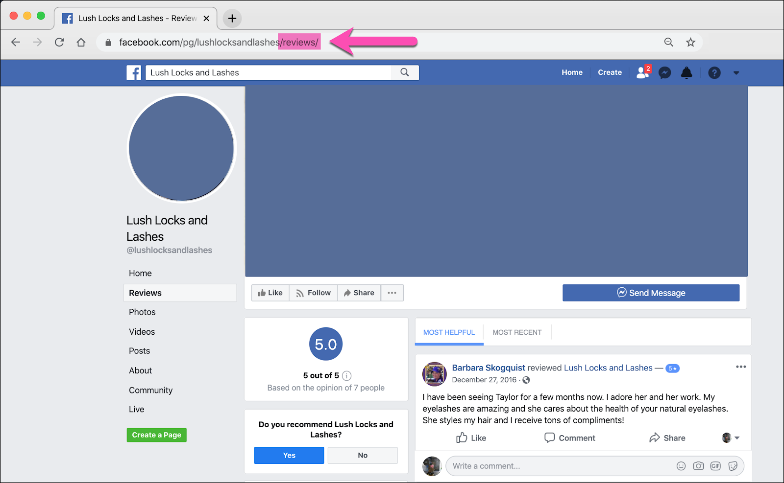 how to find your facebook business page reviews URL