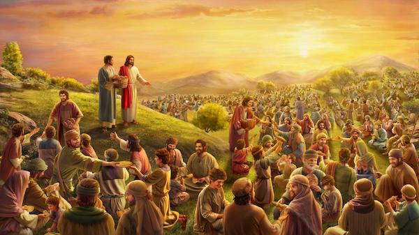 Jesus feeds the 5,000, from https://www.hearthymn.com/jesus-feeding-5000-men.html