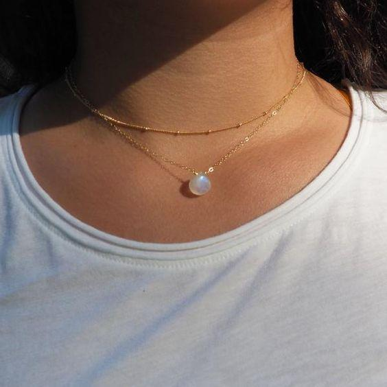 Dainty Moonstone Necklace in Sterling Silver, Gold and Rose Gold