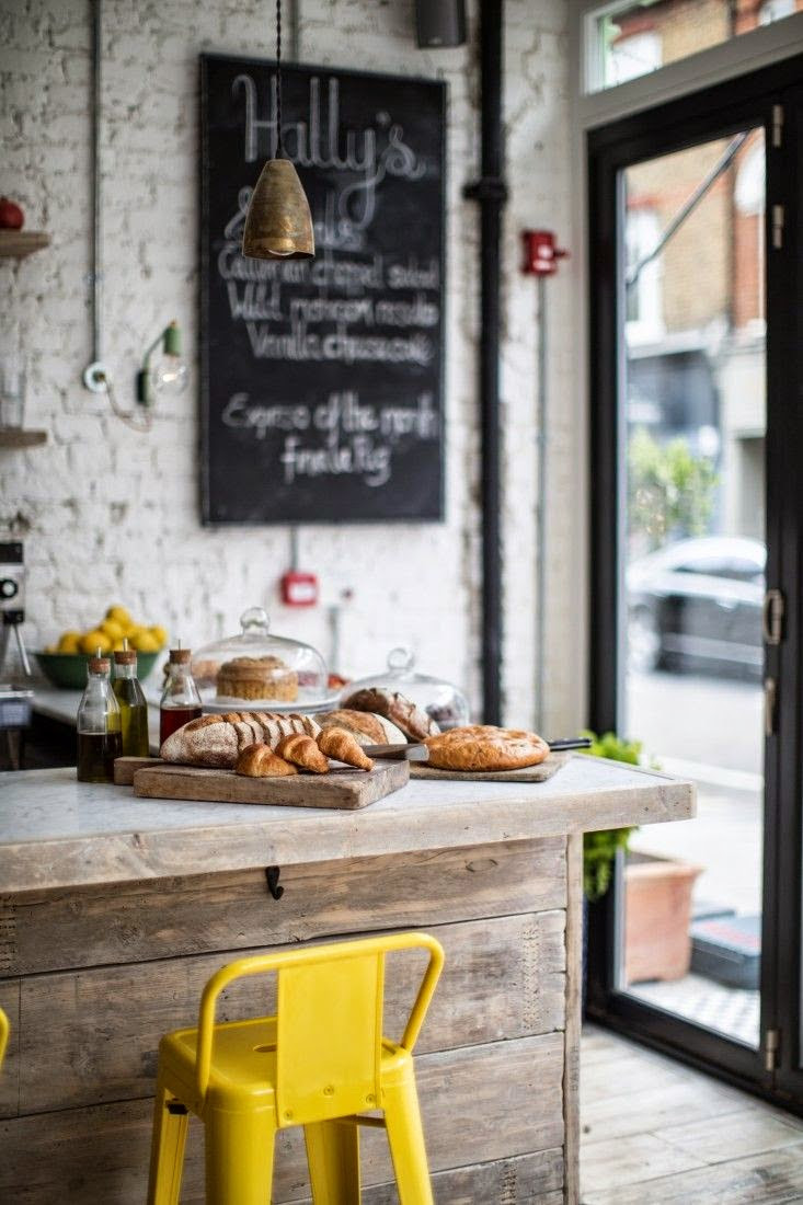 love the limed wood finish in a bakery located in London