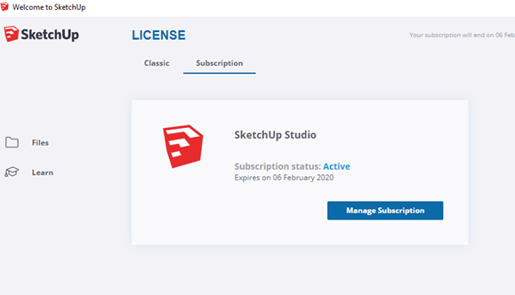 Activating Your SketchUp Pro Subscription