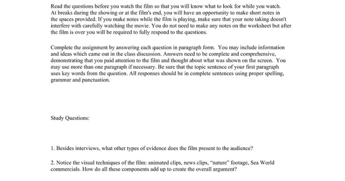 blackfish film study guide google docs. Black Bedroom Furniture Sets. Home Design Ideas