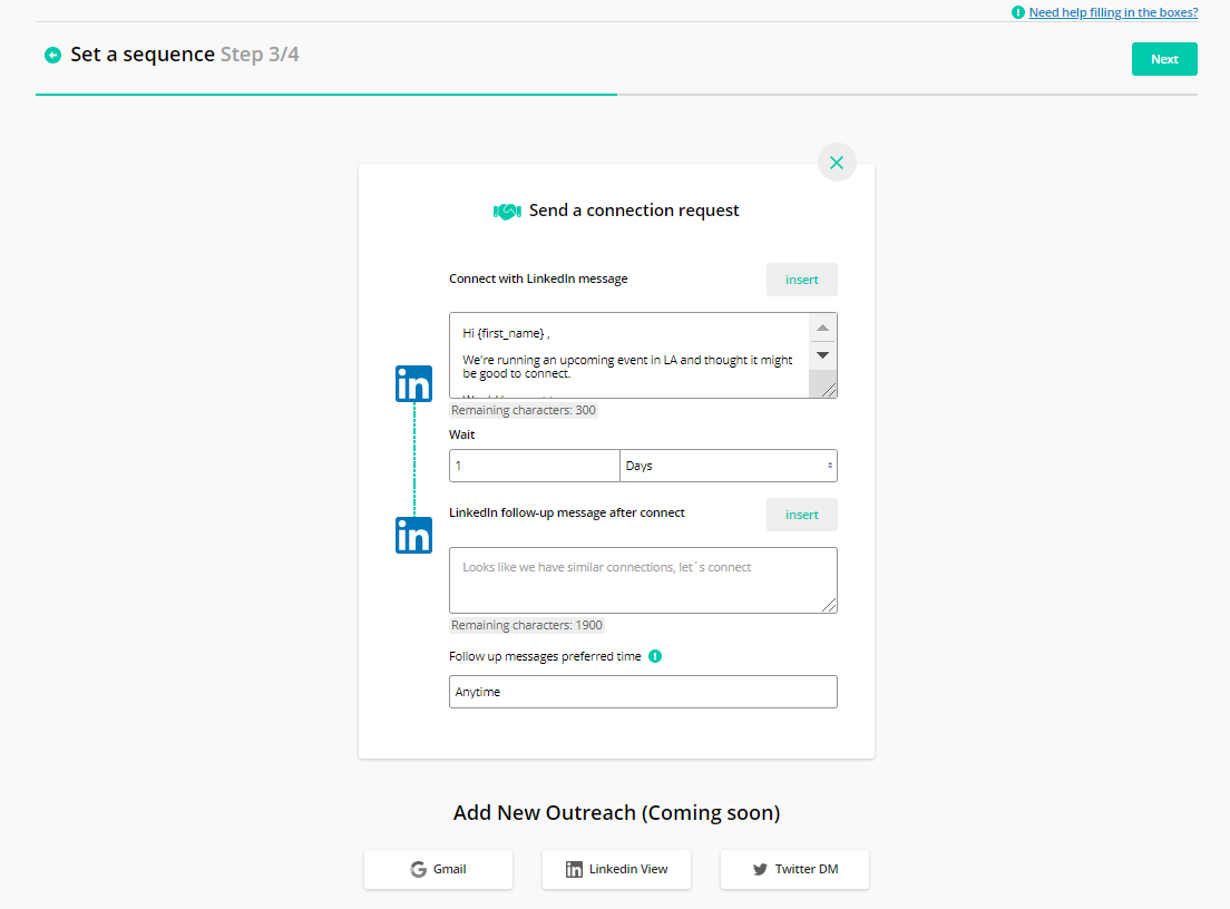 Creating your connection request in Salesloop