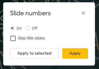 Slide numbers window in Google Slides