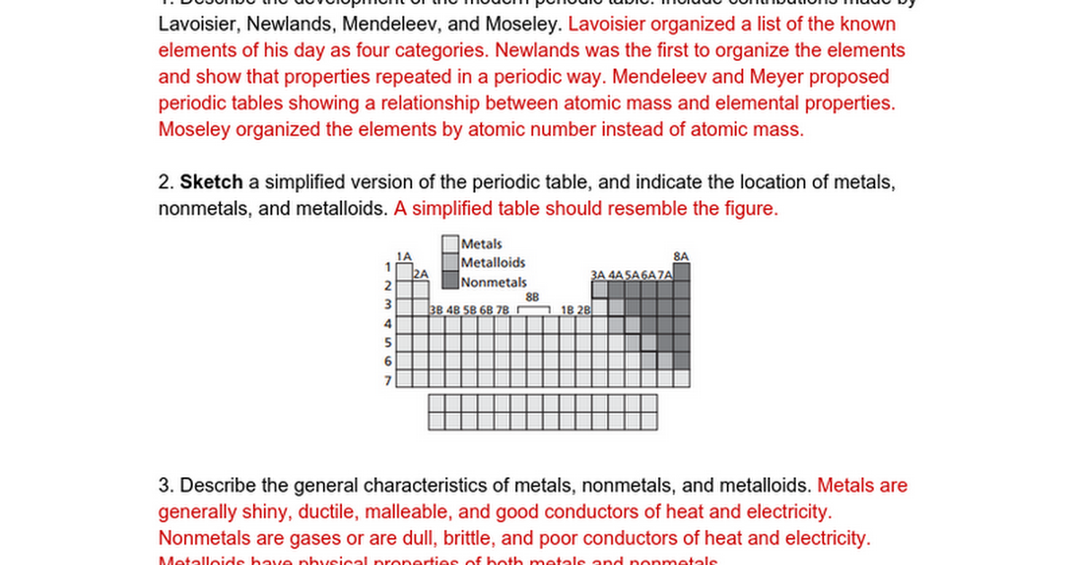 Periodic Table what are periods and groups in the modern periodic table : WOW Periodic Table Questions Key - Google Docs