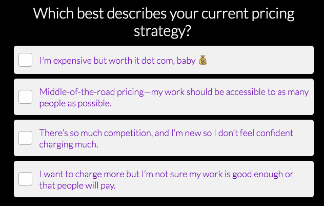 quiz about pricing strategy