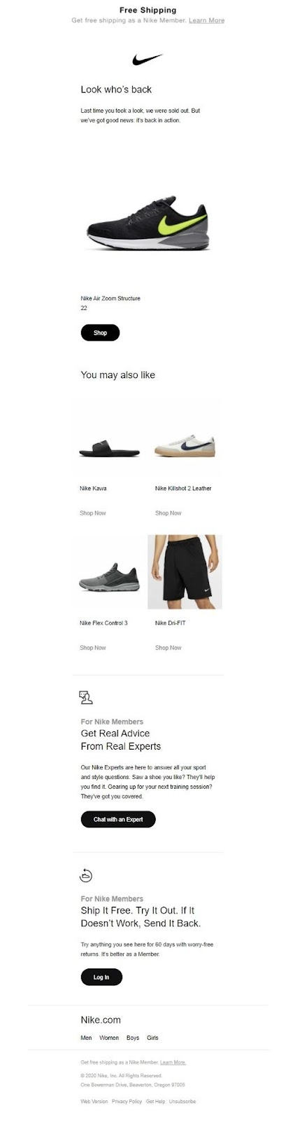 nike-product-recommendations-email-example